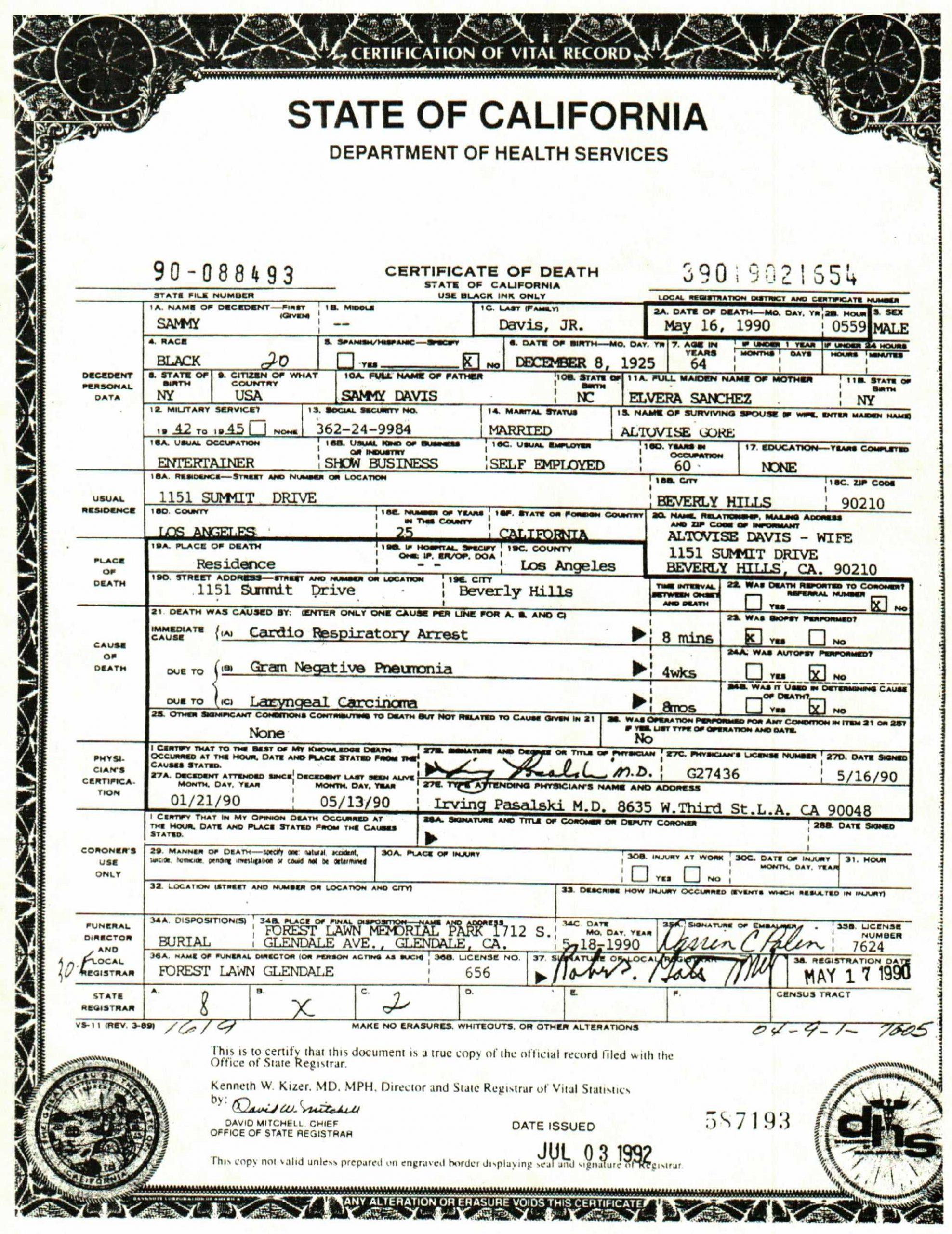 Sammy Davis Jr. Death Certificate