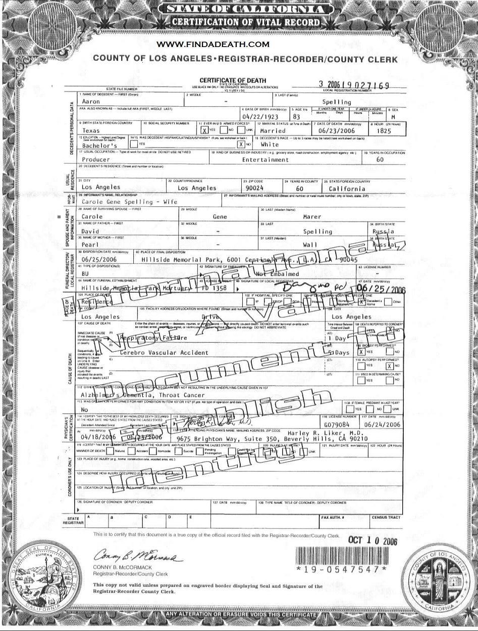 Aaron Spelling's Death Certificate