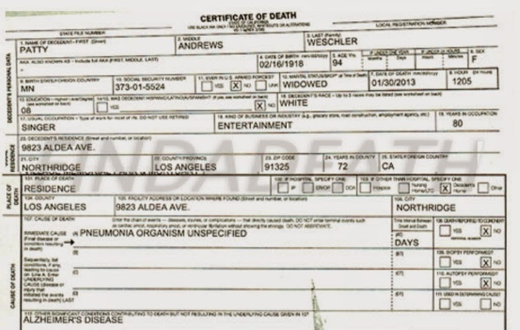 Patty Andrews' Death Certificate