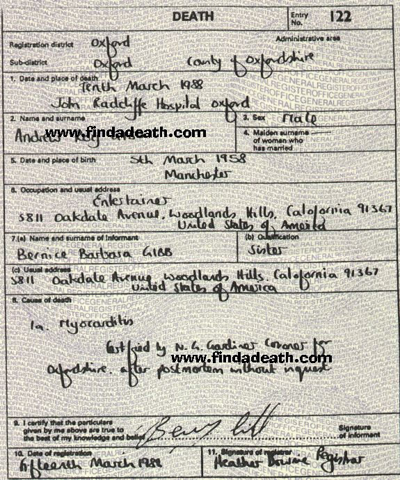 Andy Gibb's Death Certificate