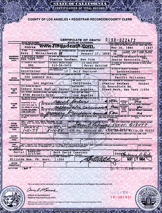 Andy Kaufman's Death Certificate