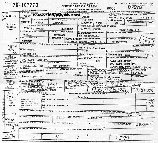 Anissa Jones Death Certificate