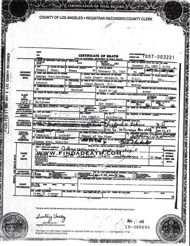 Ann Sheridan's Death Certificate