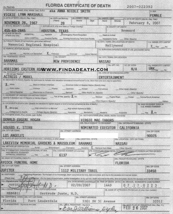 Anna Nicole Smith's Death Certificate