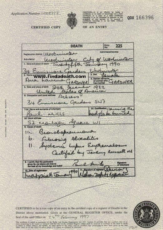 Ava Gardner's Death Certificate