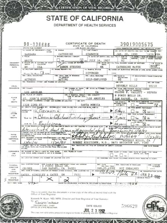 Barbara Stanwyck's Death Certificate