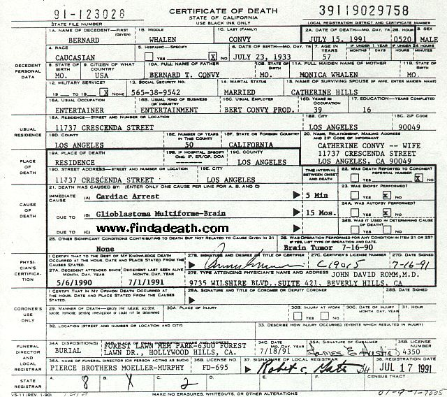 Bert Convy's Death Certificate