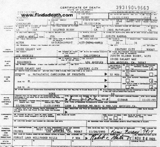 Bill Bixby's Death Certificate