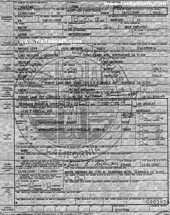 Billy Barty's Death Certificate