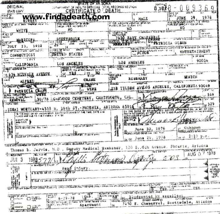 Bob Crane's Death Certificate