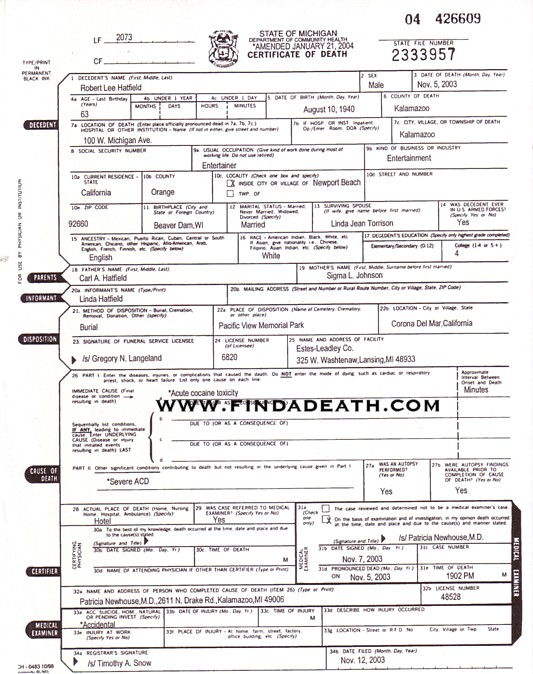 Bobby Hatfield's Death Certificate