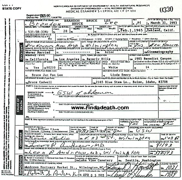 Brandon Lee's Death Certificate