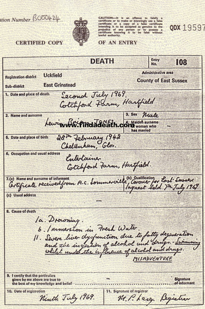 Brian Jones' Death Certificate