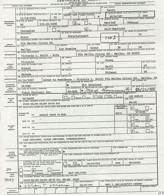 Brian Keith's Death Certificate