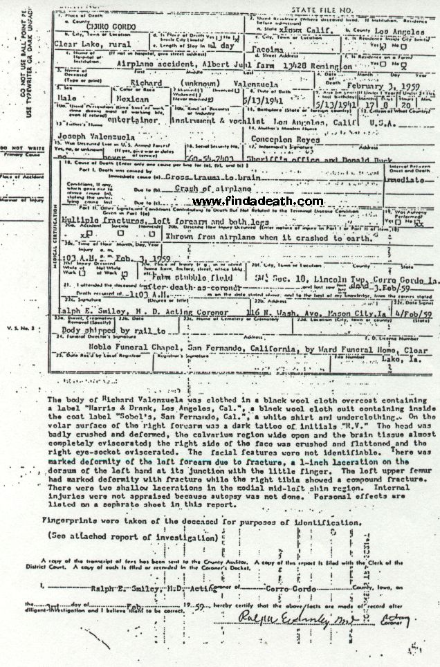 Ritchie Valen's Death Certificate