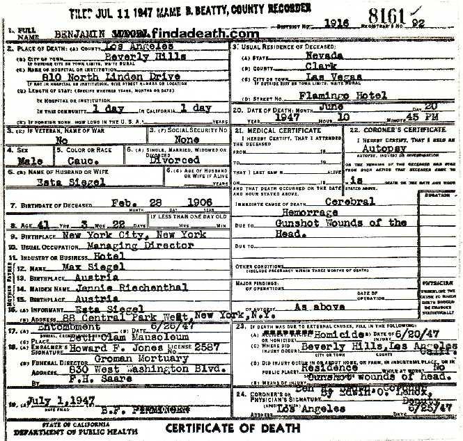 Bugsy Siegel's Death Certificate