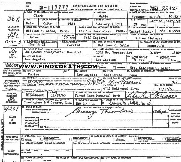 Clark Gable's Death Certificate
