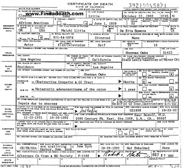 Cleavon Little's Death Certificate