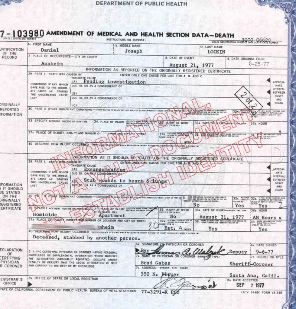 Danny Lockin Death Certificate
