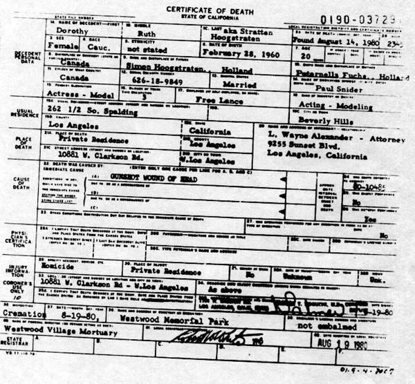 Dorothy Stratten's Death Certificate