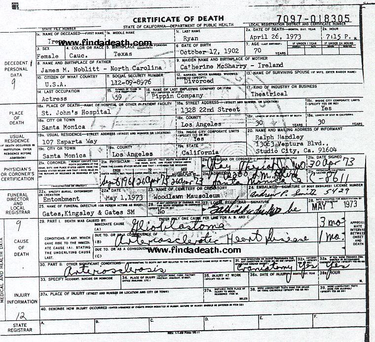 Irene Ryan's Death Certificate