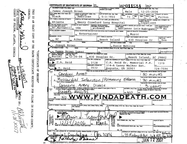 James Brown's Death Certificate
