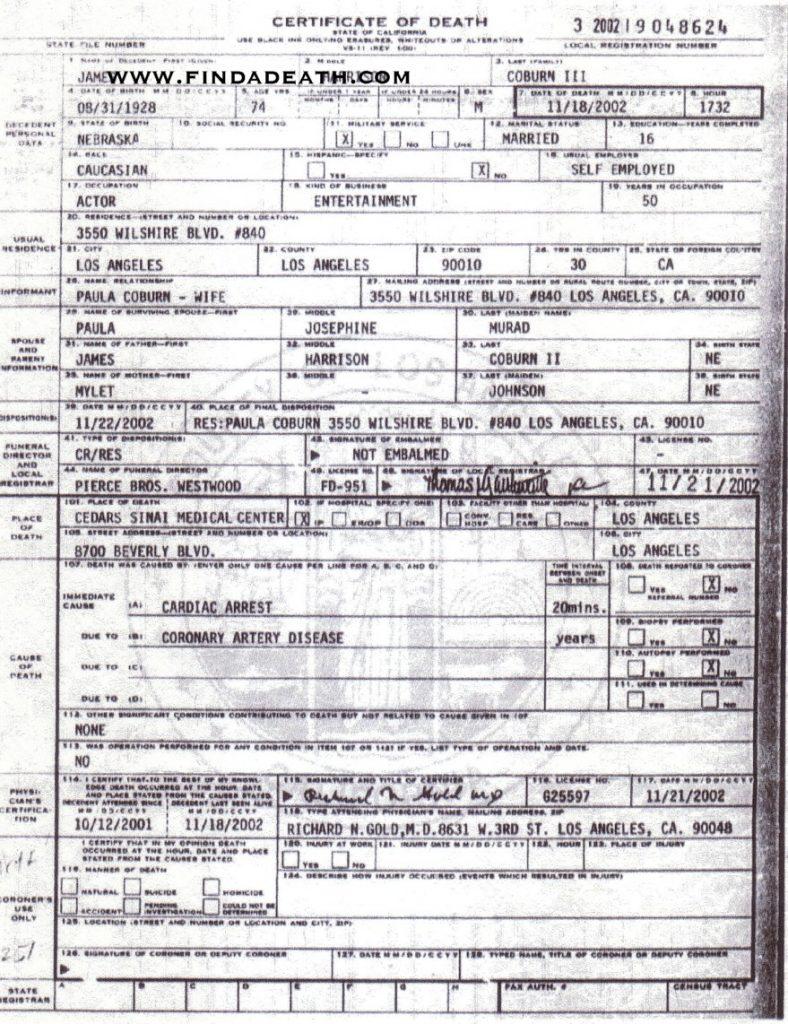 James Coburn's Death Certificate