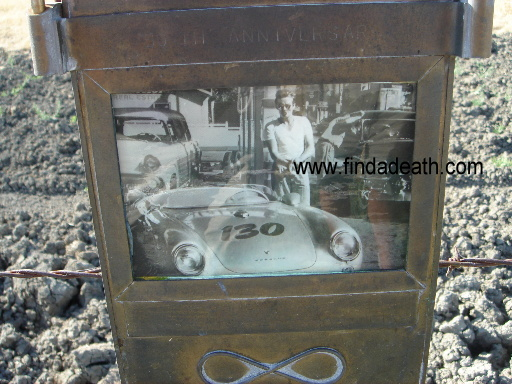 James Dean's plaque where he crashed.