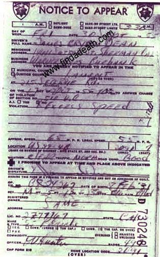 James Dean's Speeding Ticket