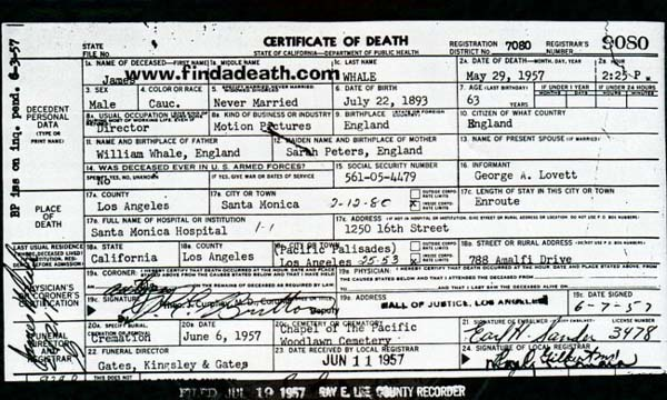 James Whale's Death Certificate