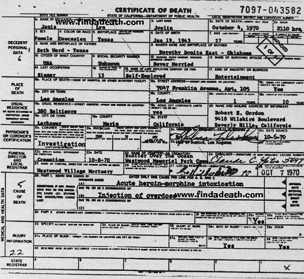 Janis Joplin's Death Certificate