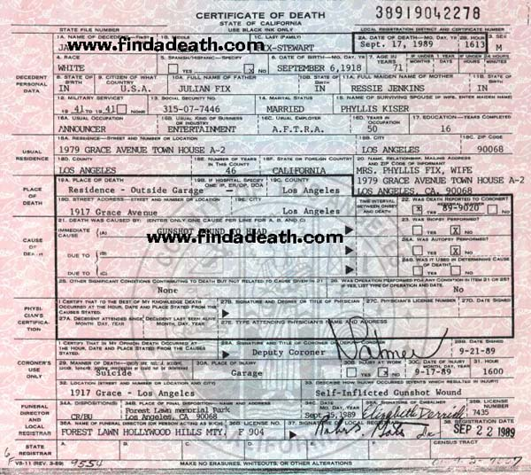 Jay Stewart's Death Certificate