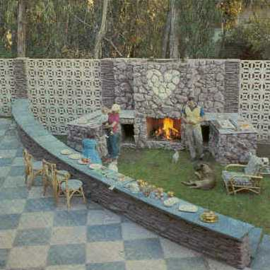Jayne Mansfield - Outdoor Fireplace