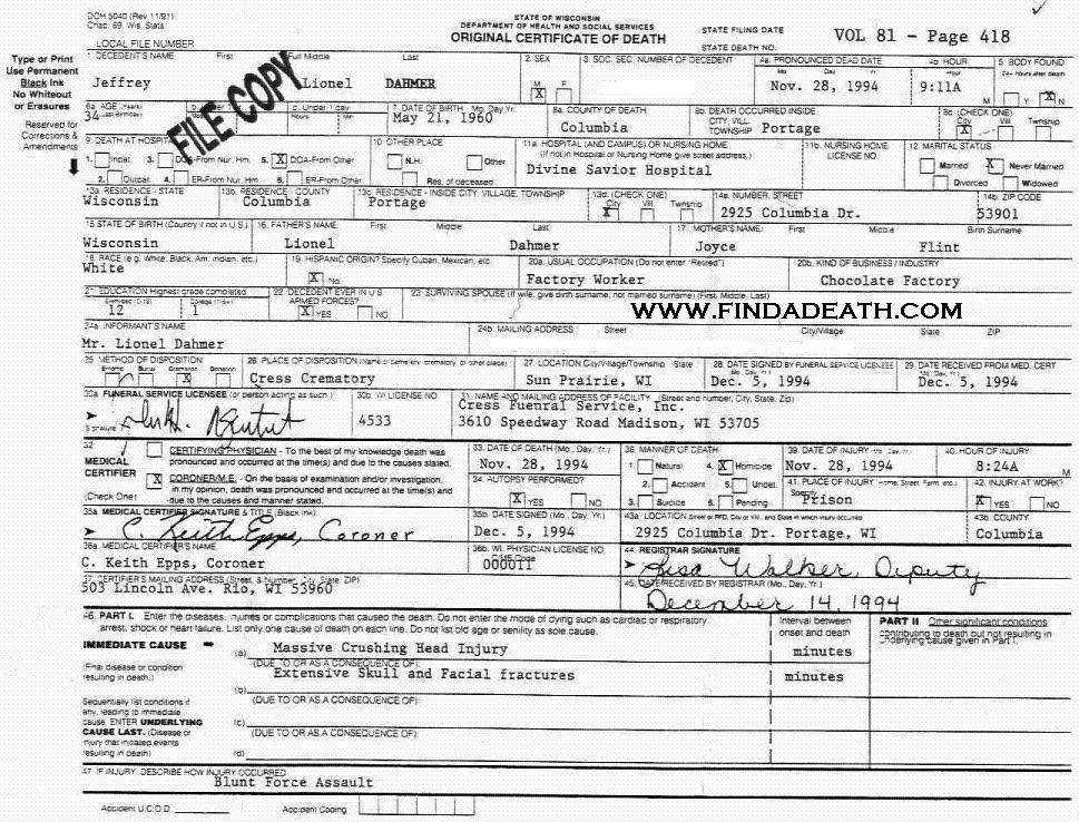 Jeffrey Dahmer's Death Certificate