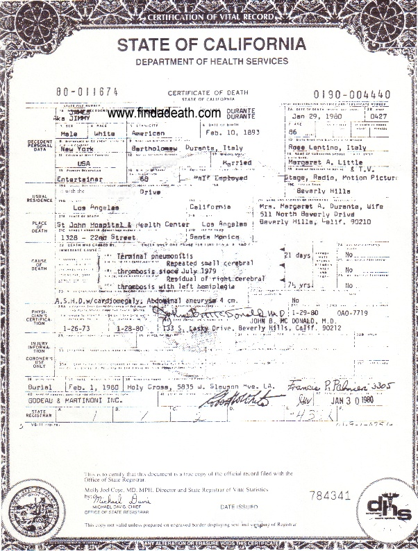 Jimmy Durante's Death Certificate