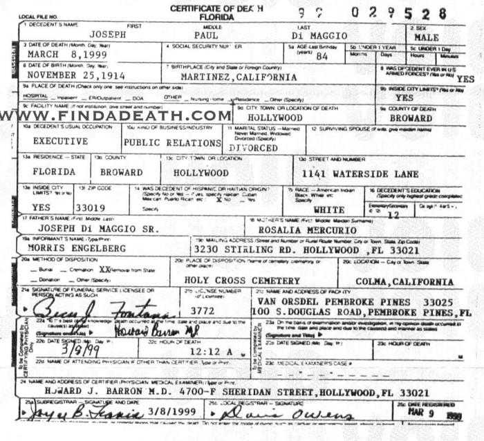 Joe DiMaggio's Death Certificate