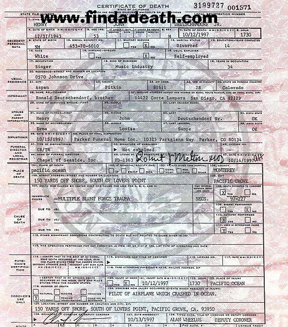 John Denver's Death Certificate