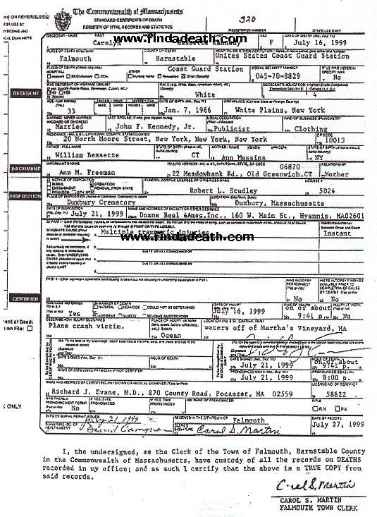 Caroyln Bessette-Kennedy's Death Certificate