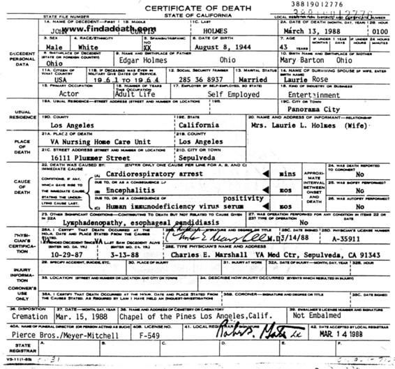 John Holmes' Death Certificate