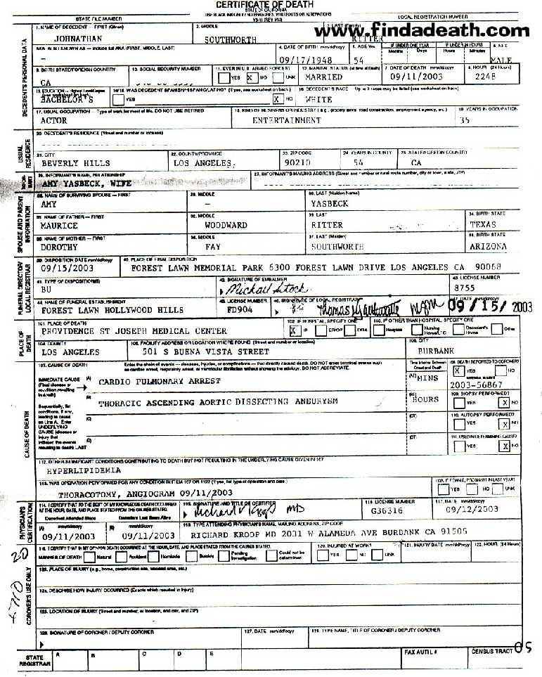John Ritter's Death Certificate