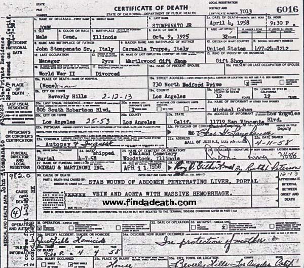 Johnny Stompanato's Death Certificate