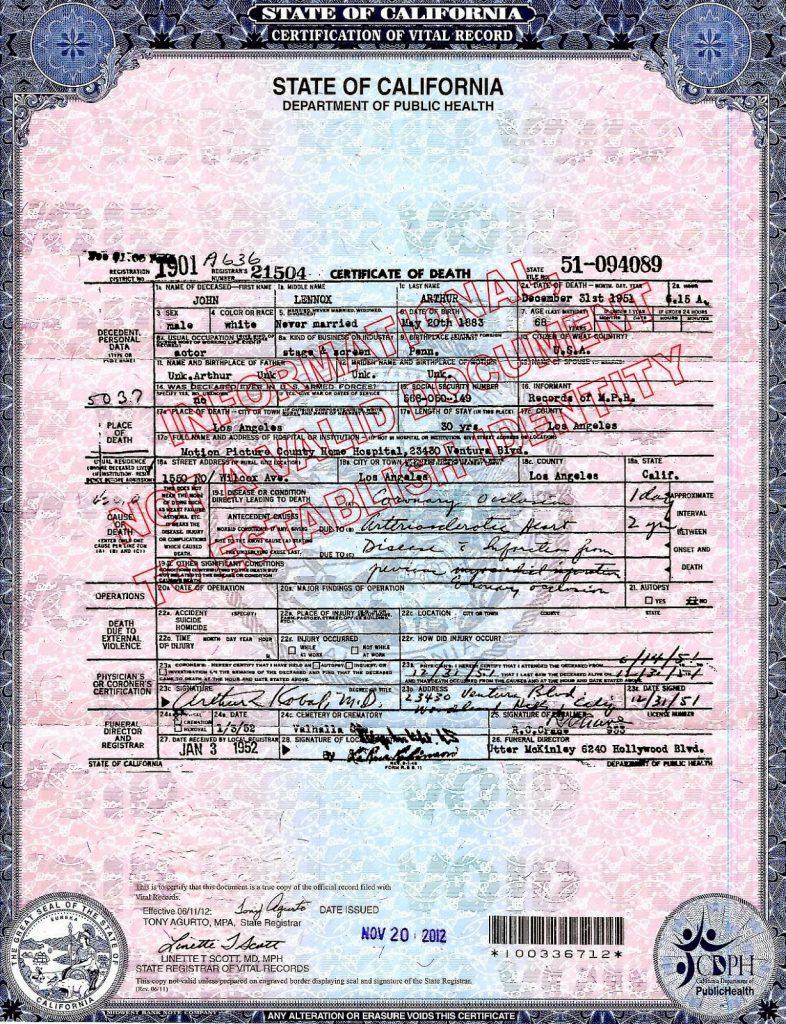 Johnny Arthur's Death Certificate