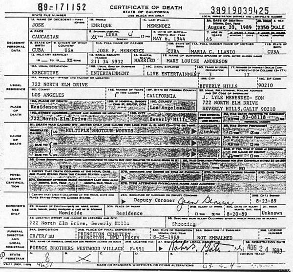 Jose Menendez Death Certificate
