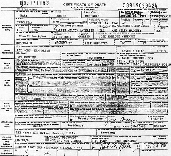 Kitty Menendez Death Certificate