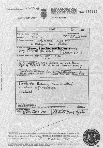 Judy Garland's Death Certificate
