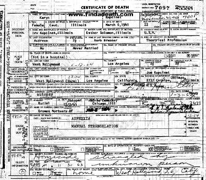 Karyn Kupcinet's Death Certificate