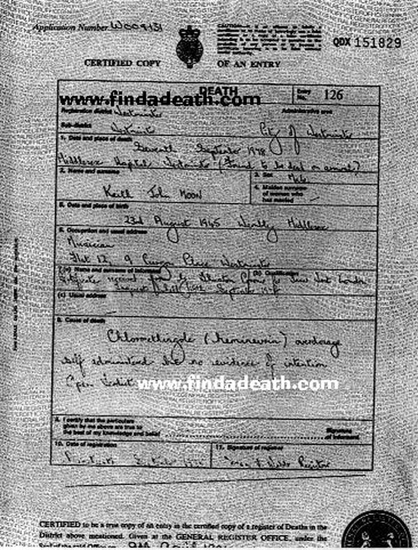 Keith Moon's Death Certificate
