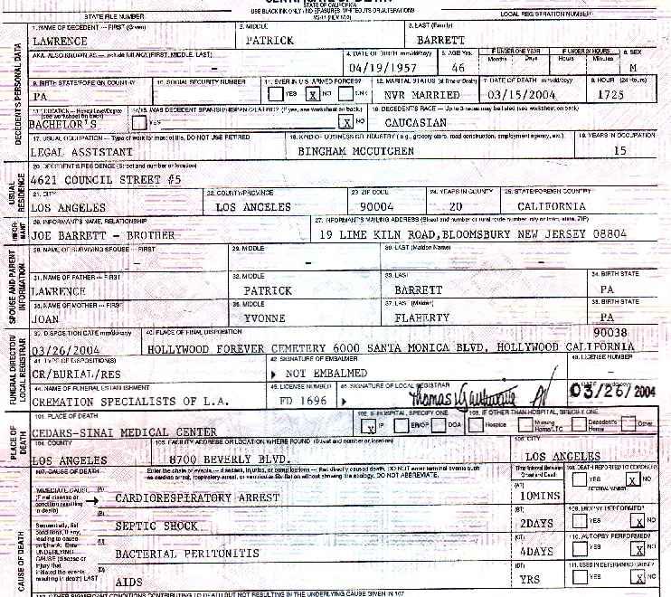 """Larry """"Laer"""" Barrett's Death Certificate"""