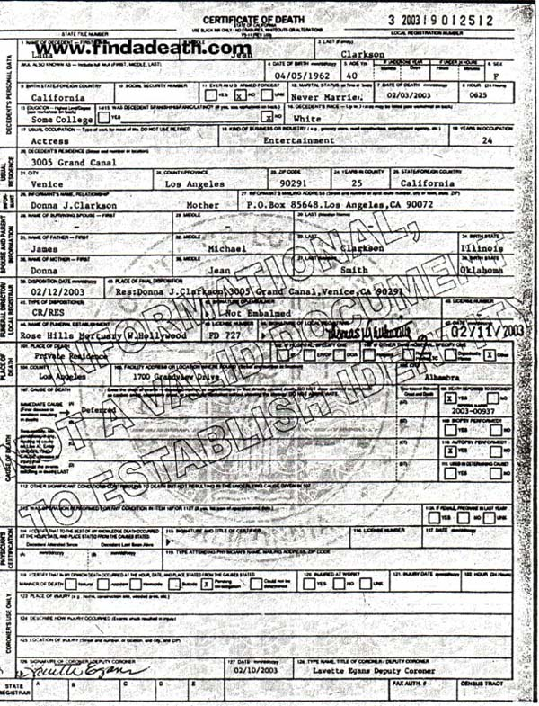 Lana Clarkson's Death Certificate