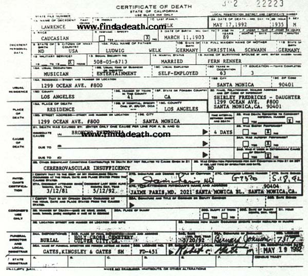 Lawrence Welk's Death Certificate